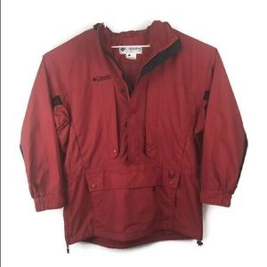 Vtg 90's Columbia Kangaroo Pouch Dad Jacket Red